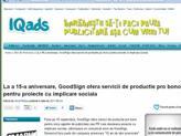 IQAds - La a 15-a aniversare, GoodSign ofera servicii de productie pro bono pentru proiecte cu implicare sociala