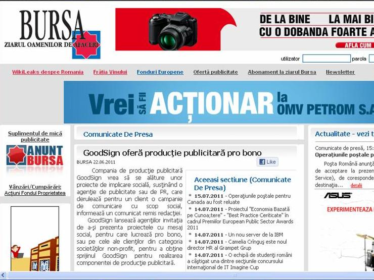 Bursa - GoodSign ofera productie publicitara pro bono